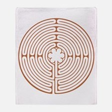 Brown Chartres Labyrinth Throw Blanket