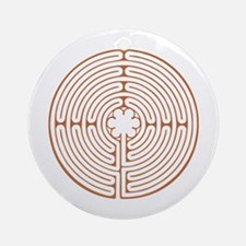 Brown Chartres Labyrinth Round Ornament