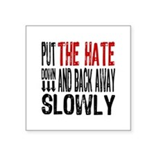 "Put The Hate Down Square Sticker 3"" x 3"""