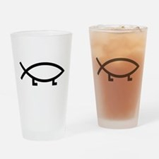 evolution fish Drinking Glass