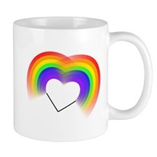 Double rainbow heart Mugs