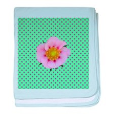 Pink Flower on Green Polka Dots baby blanket