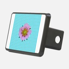 Pink Flower on Teal Stripes Hitch Cover