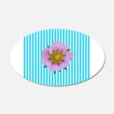 Pink Flower on Teal Stripes Wall Decal