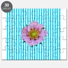 Pink Flower on Teal Stripes Puzzle