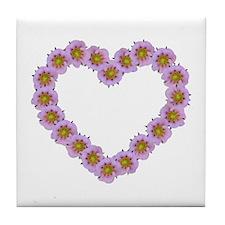 Pink Flower Heart Tile Coaster