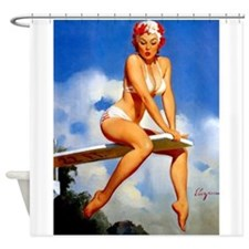 Pinup Girl And Diving Board Shower Curtain