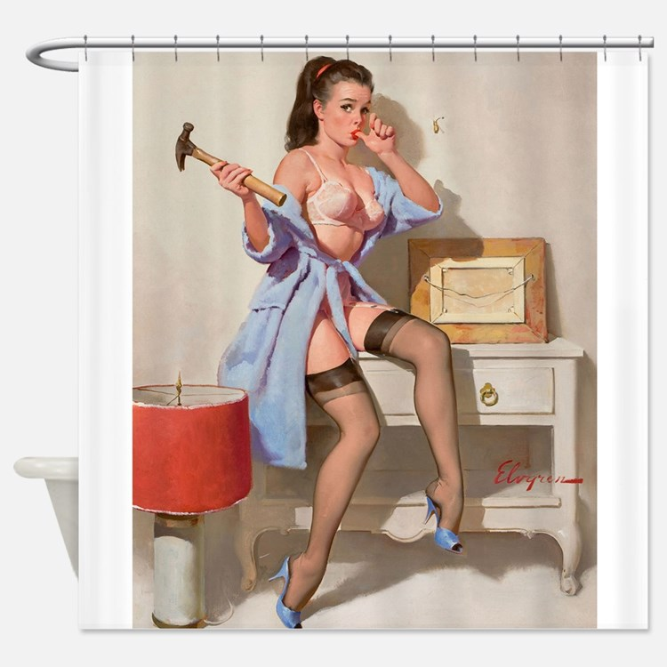 Pinup Girl Hanging A Picture; Wrong Shower Curtain