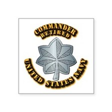 "Navy - Commander - O-5 - Re Square Sticker 3"" x 3"""
