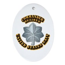 Navy - Commander - O-5 - Retired T Ornament (Oval)