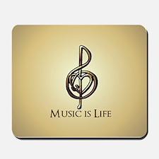 Treble Clef Music Gold Customizable Mousepad
