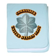 Navy - Commander - O-5 - w Text baby blanket