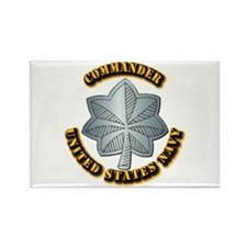 Navy - Commander - O-5 - w Text Rectangle Magnet