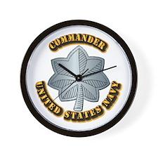 Navy - Commander - O-5 - w Text Wall Clock
