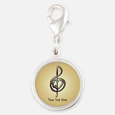 Treble Clef Music Gold Customi Silver Round Charm