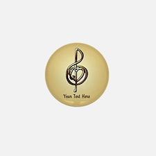 Treble Clef Music Gold Custo Mini Button (10 pack)