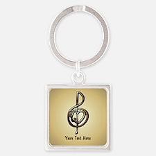 Treble Clef Music Gold Customizabl Square Keychain