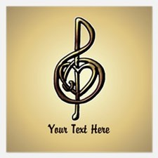 Treble Clef Music Gold Cust 5.25 x 5.25 Flat Cards