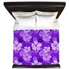 Hibiscus Purple Flowers King Duvet
