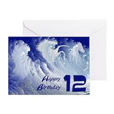 12th birthday, wild white surf horses Greeting Car