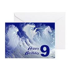 9th birthday, wild white surf horses Greeting Card