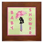 Baby Shower Pink Framed Tile