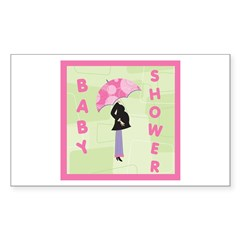 Baby Shower Pink Rectangle Decal