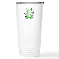 MONOGRAM, L, FLORESCENT GREEN & BLACK Travel Mug