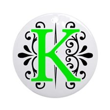 MONOGRAM, K, FLORESCENT GREEN & BLACK Ornament (Ro