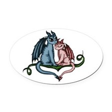 Dragon Couple Oval Car Magnet