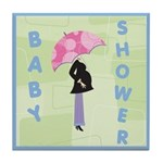 Baby Shower Blue Tile Coaster