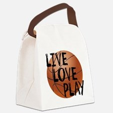 Live, Love, Play - Basketball Canvas Lunch Bag