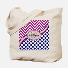 Blue Chevron Dots Personalized Tote Bag