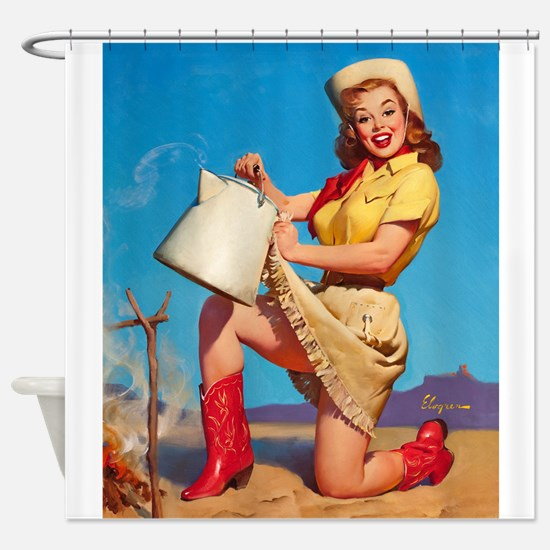 Pinup Girl With Kettle, Vintage Art Shower Curtain