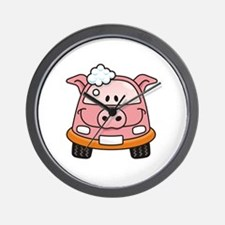 Pig car with bubbles Wall Clock