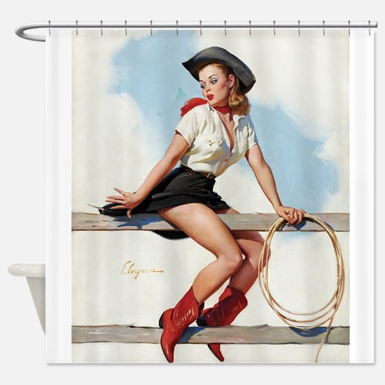 Pinup Girl Cowgirl, Vintage Art Shower Curtain