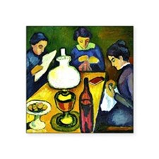 "August Macke - Three Women  Square Sticker 3"" x 3"""