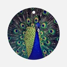 Cobalt Blue Peacock Ornament (Round)