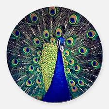 Cobalt Blue Peacock Round Car Magnet