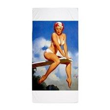 Pinup Girl and Diving Board Beach Towel
