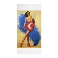 Pinup Girl and Red Hat, Vintage Poster Beach Towel