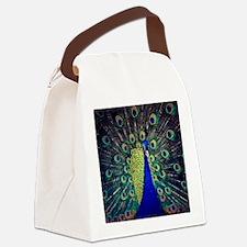 Cobalt Blue Peacock Canvas Lunch Bag