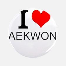 """I Love Taekwondo 3.5"""" Button"""