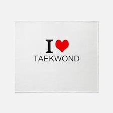 I Love Taekwondo Throw Blanket