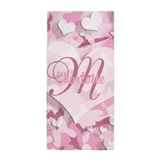 Monogram Pink Camouflage Heart Beach Towel