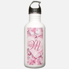 Monogram Pink Camouflage Heart Water Bottle
