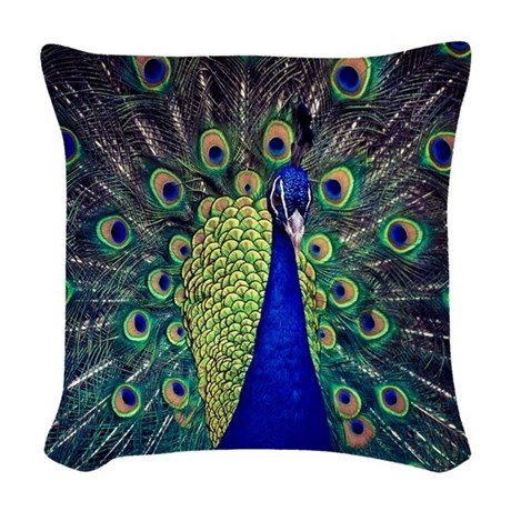 Peacock Blue Throw Pillow : Cobalt Blue Peacock Woven Throw Pillow by LeeHillerDesigns