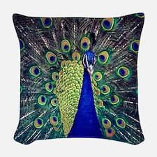 Cobalt Blue Peacock Woven Throw Pillow