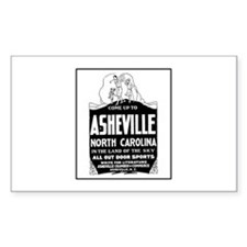 Asheville NC - Vintage Ad Rectangle Decal