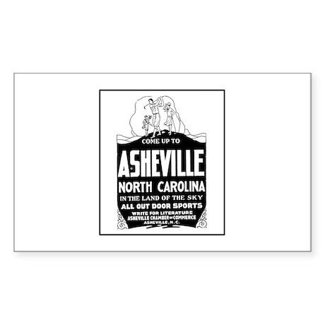 Asheville NC - Vintage Ad Rectangle Sticker